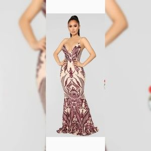 Sequins prom dress - color Wine and Tan